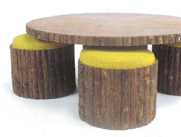 Japanese-style low circulartable and stools
