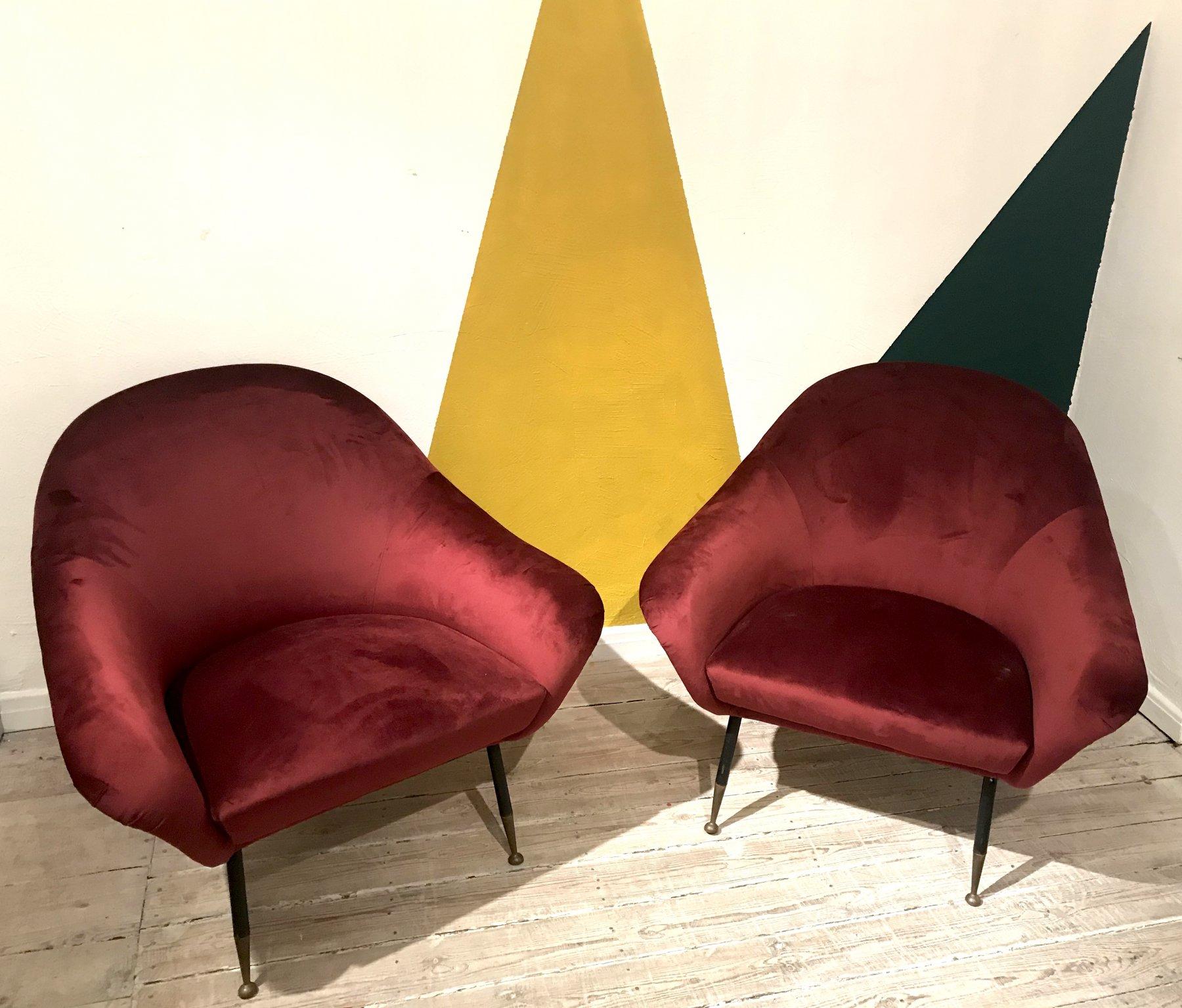 Italian velvet armchairs