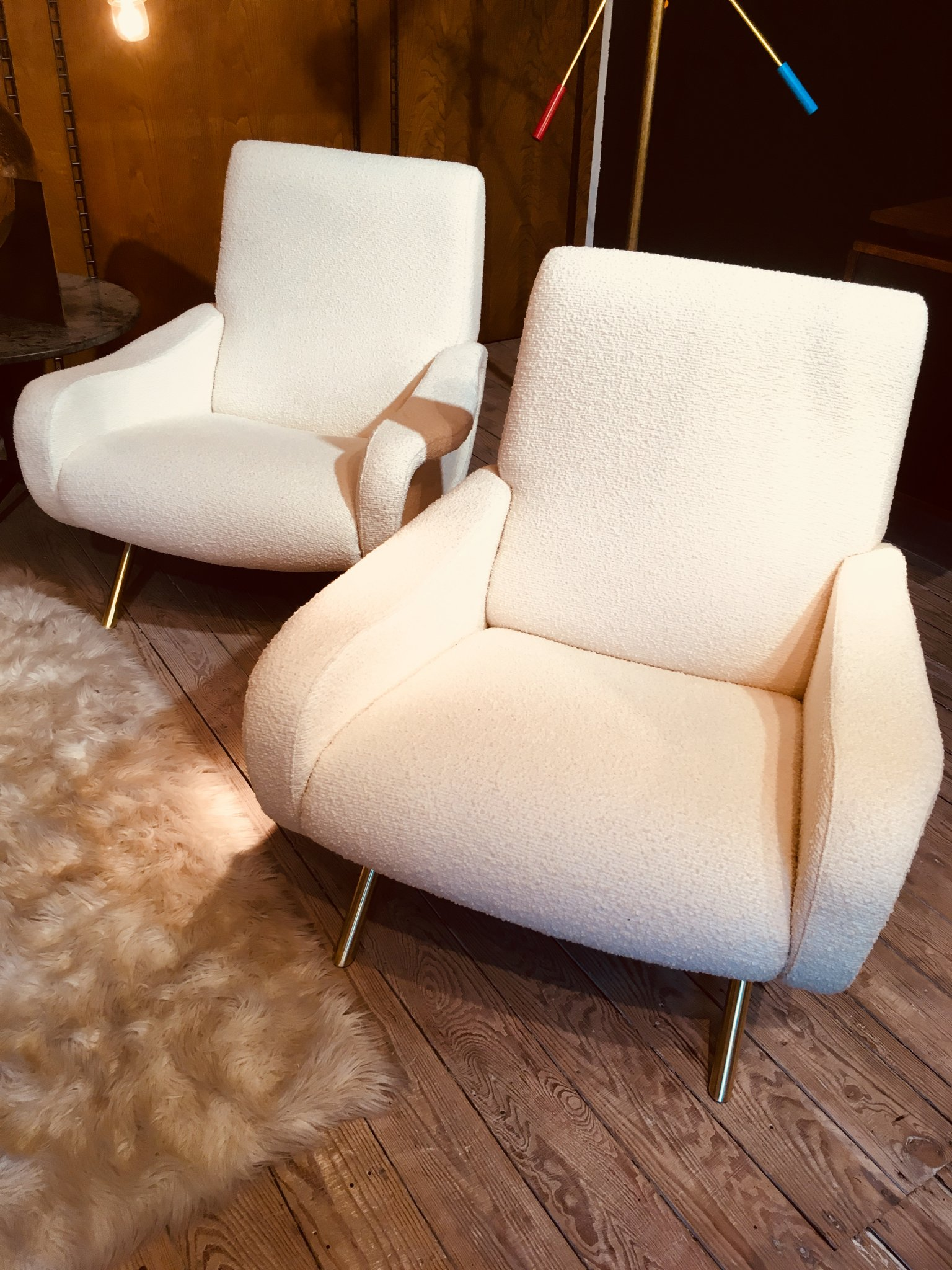 """Pair of """"Lady"""" armchairs by Zanuso"""