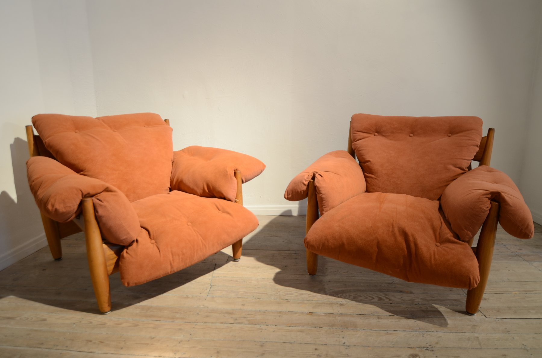 Pair of Sergio Rodrigues Sheriff easy chairs