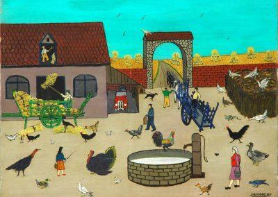 Andre Demonchy - Franca - La Ferme et La Basse - Cour Yonne - 46,5x61