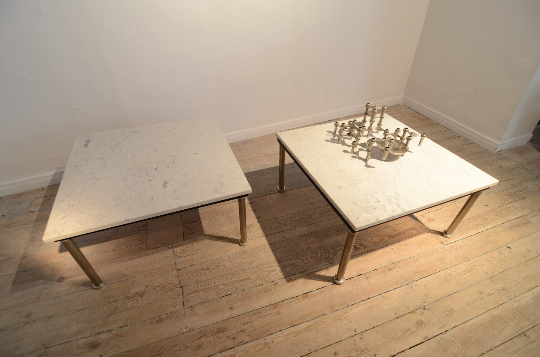 Pair of marble top coffee tables