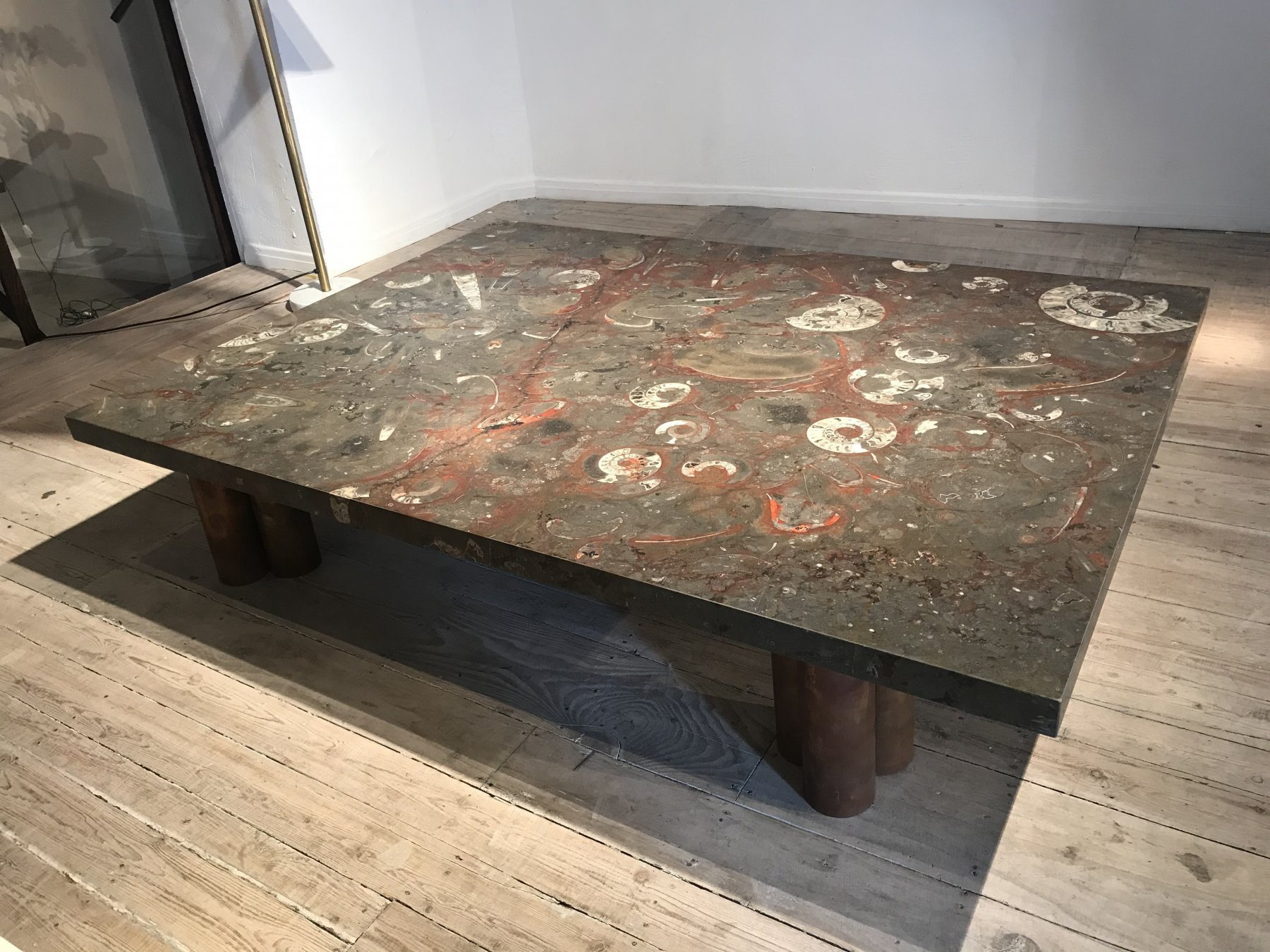 Stone coffee table with fossils