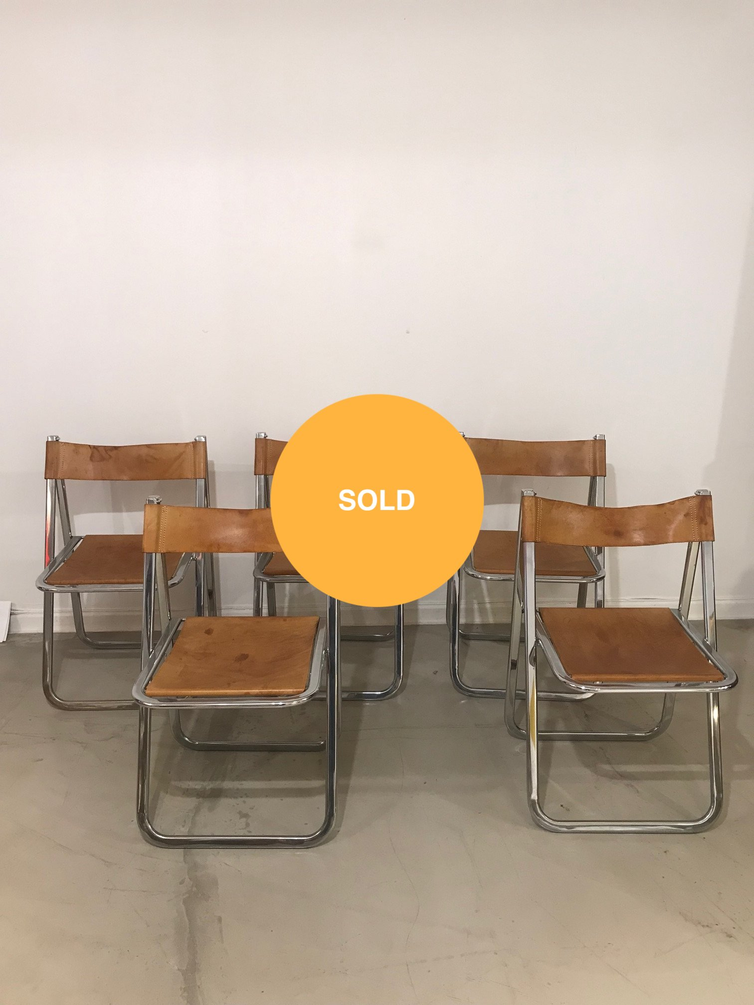 Set of 5 leather & aluminium chairs