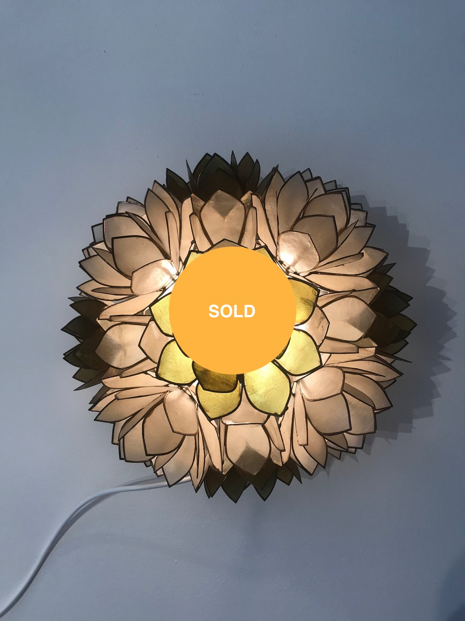 Pair of flower wall lamps
