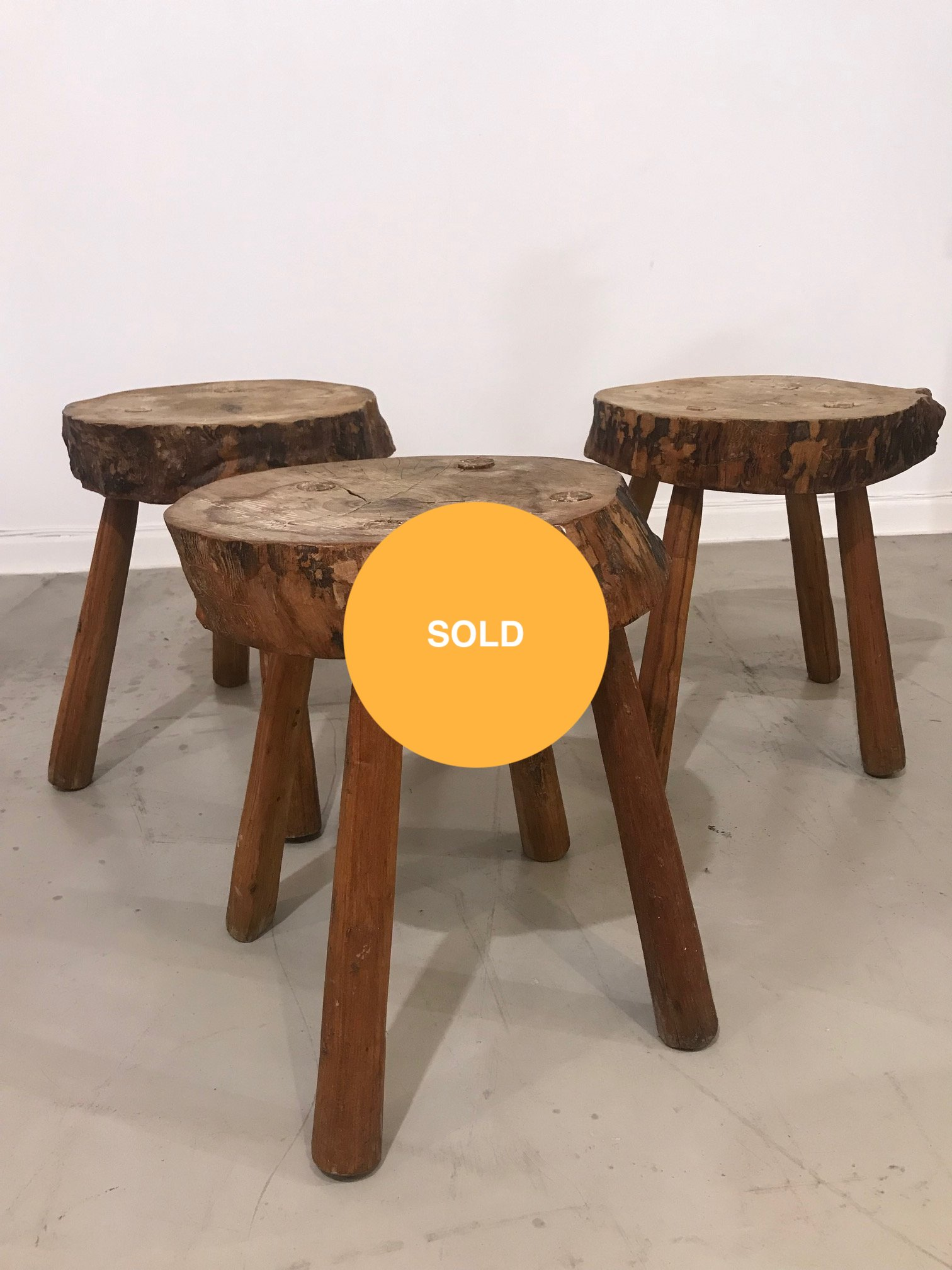 Set of 3 brutalist stools