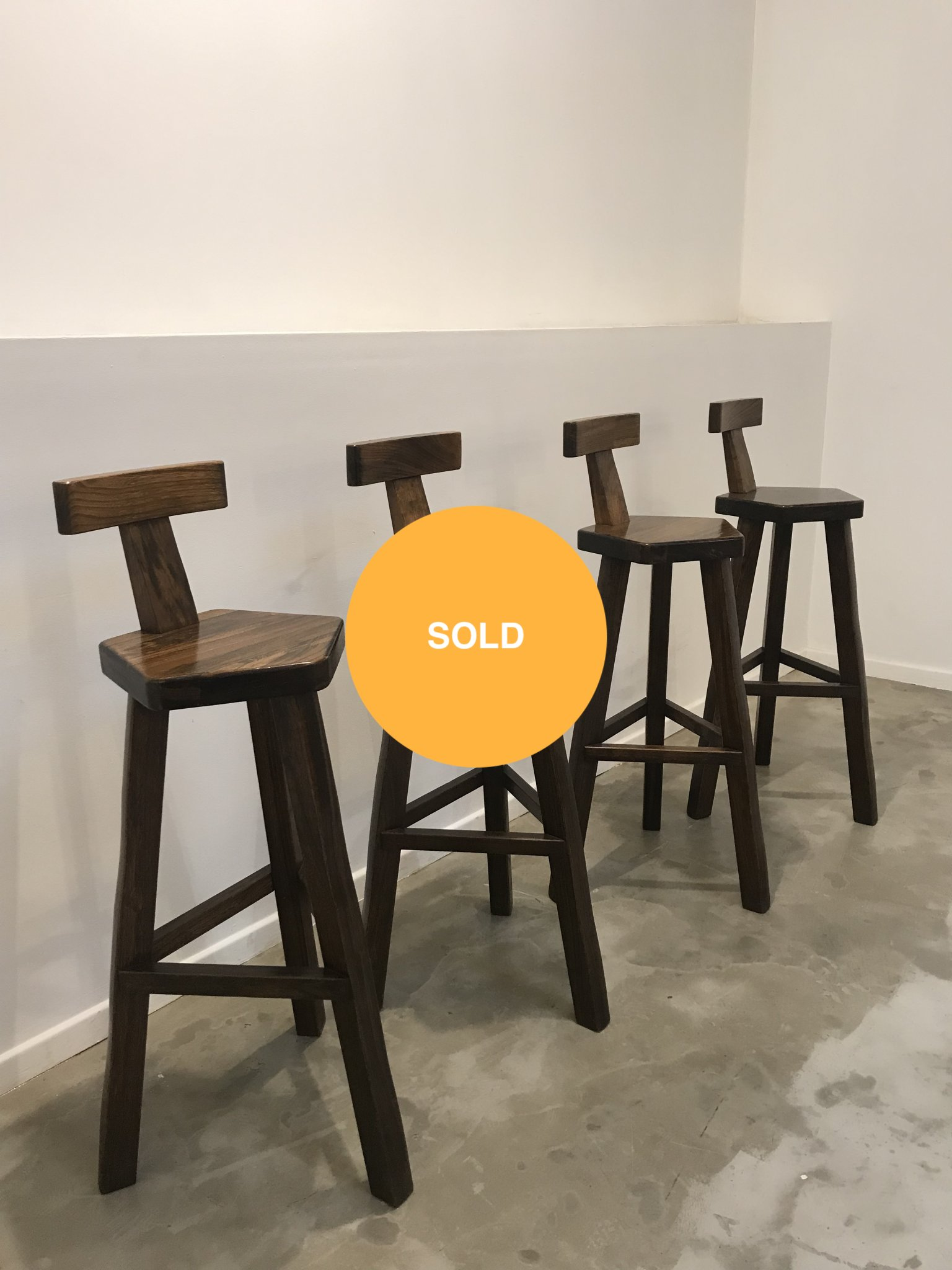 Set of 4 brutalist barstools
