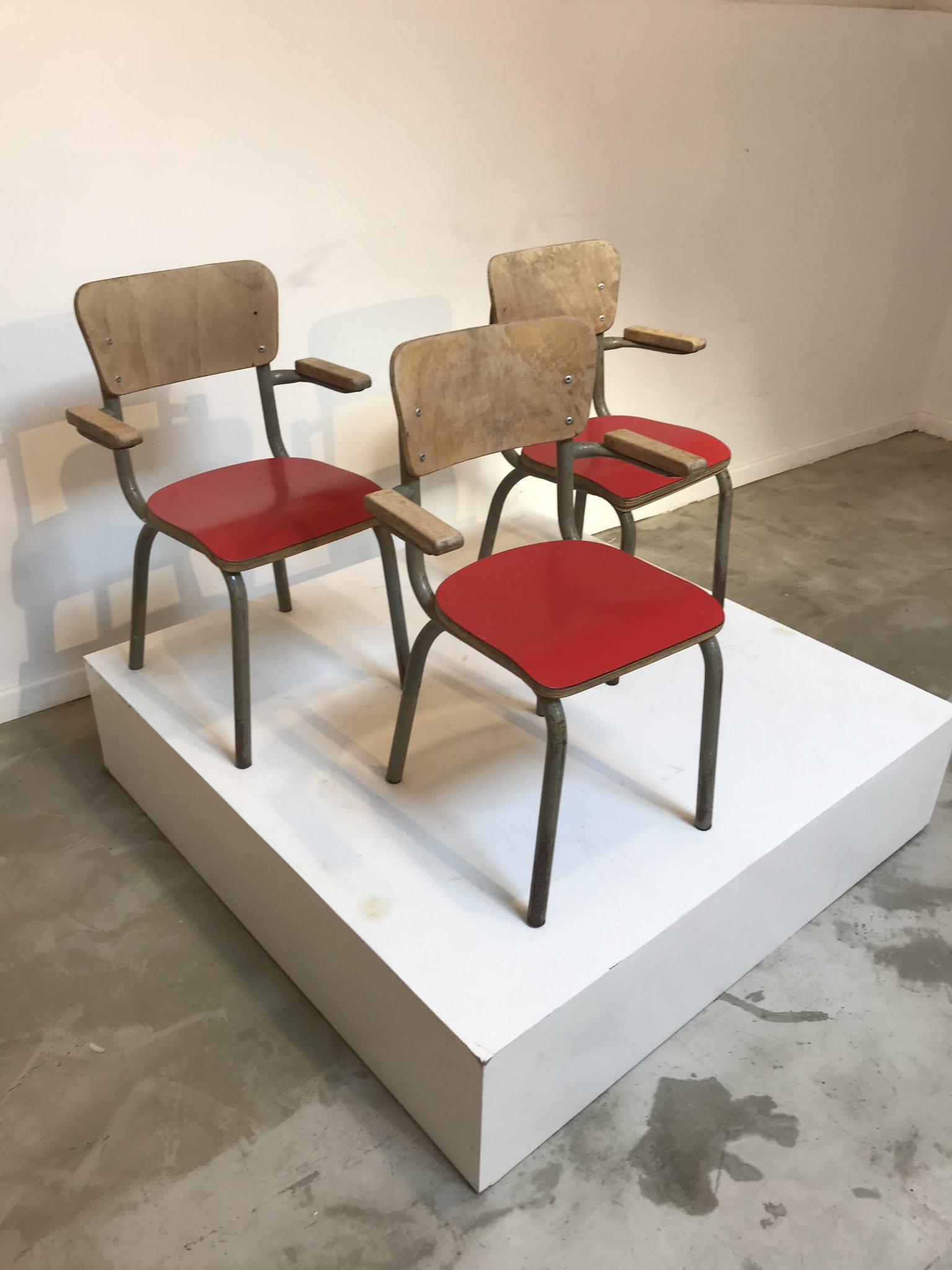 3 red chairs for kids