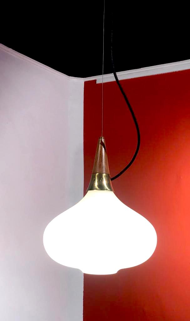Wood and opaline ceiling lamp
