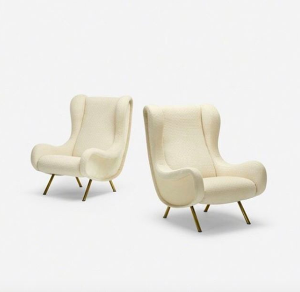 Pair of white bouclette armchairs