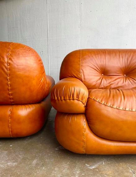 Girgi Sapporo 2 cognac easy chairs and 1 sofa