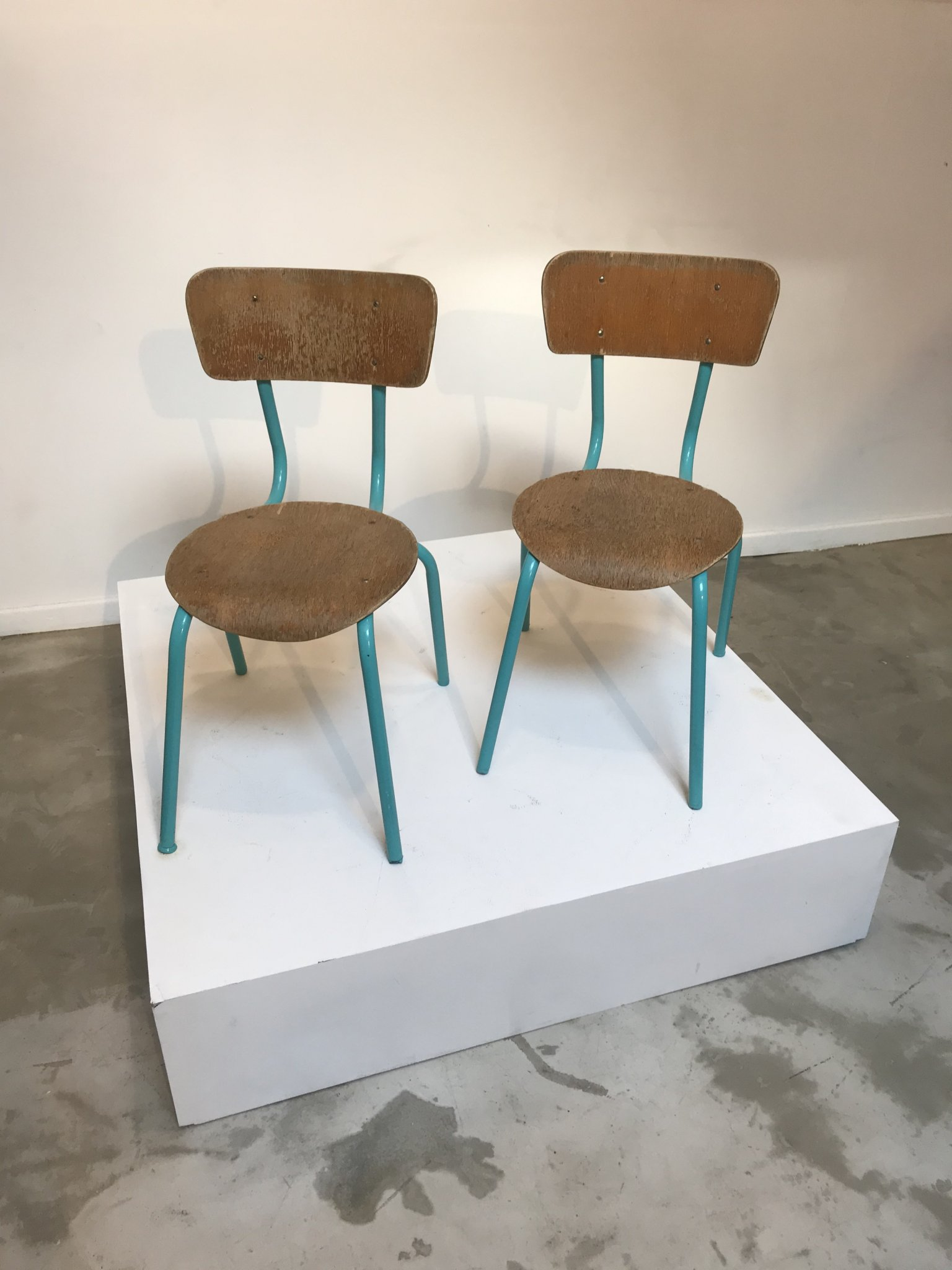 2 blue/light green chairs for kids