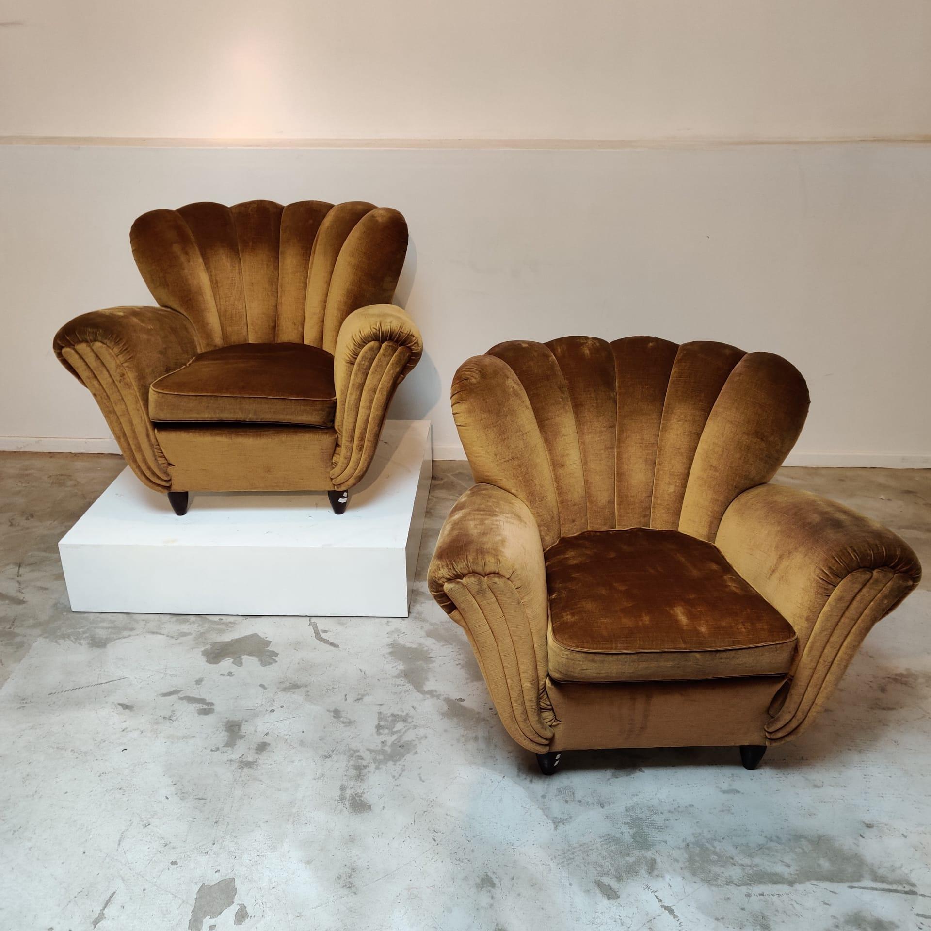 Pair of Italian gold velvet easy chairs