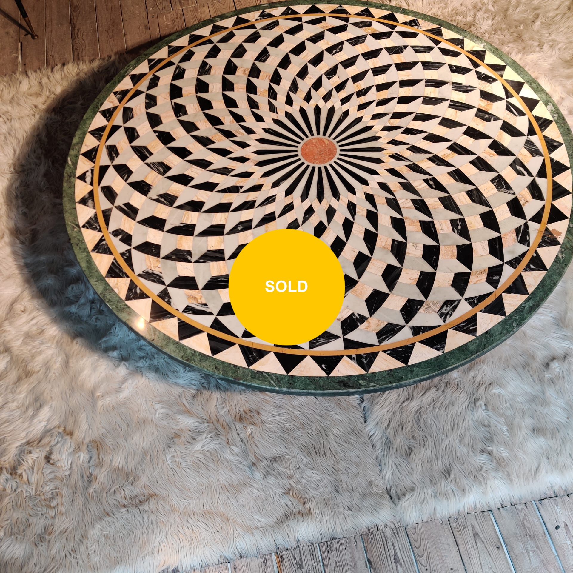 Stone marquetry low table