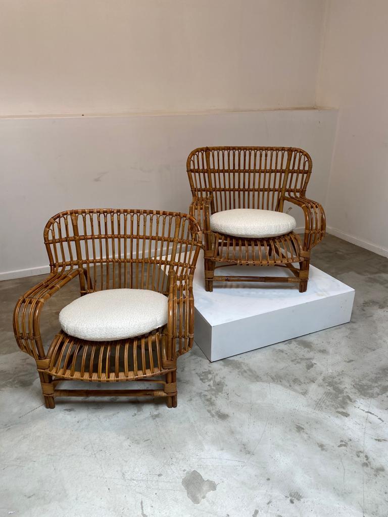 Bamboo easy chairs by Bonacina